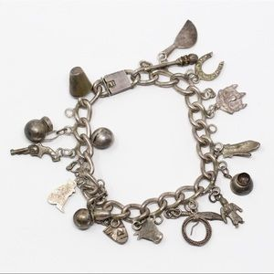 """TAXCO 980 SILVER Mexican Charms Bracelet 7"""""""